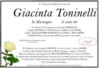 Necrologio di Giacinta Toninelli