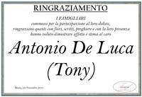 Ringraziamento per Antonio De Luca