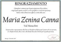 Ringraziamento per Maria Zenina Canna ved. Matacchini