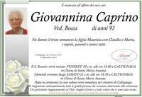 Necrologio di Giovannina Caprino ved. Bocca