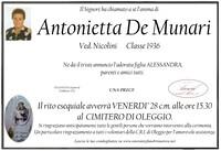 Necrologio di Antonietta De Munari