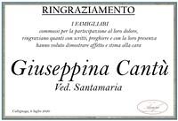 Ringraziamento per Giuseppina Cantù ved. Santamaria