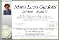 Necrologio di Maria Lucia Guidotti in Ferrari