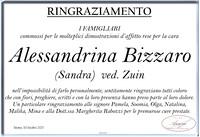 Ringraziamento per Alessandrina Bizzaro ved. Zuin