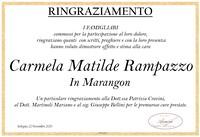 Ringraziamento per Carmela Matilde Rampazzo in Marangon