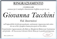 Ringraziamento per Giovanna Tacchini ved. Invernizzi