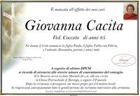 Necrologio di Giovanna Cacita ved. Coccato