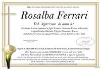 Necrologio di Rosalba Ferrari ved, Agazzone