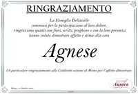 Ringraziamento per Agnese Cupia in Dellavalle