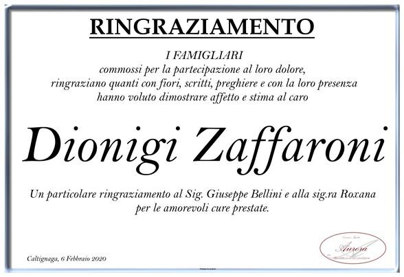 Ringraziamenti per Dionigi Zaffaroni