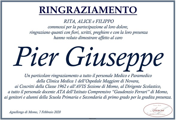 Ringraziamenti per Pier Giuseppe Torgano