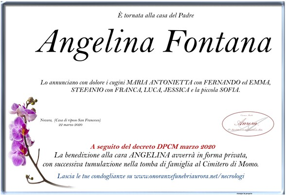Necrologio di Angelina Fontana