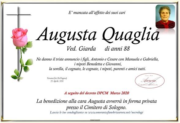 Necrologio di Augusta Quaglia ved. Giarda