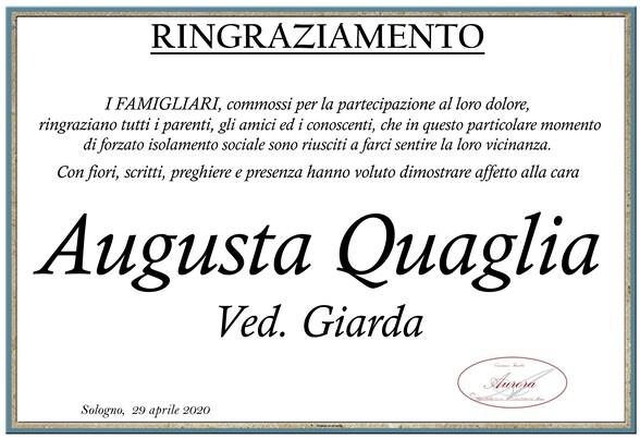 Ringraziamenti per Augusta Quaglia ved. Giarda