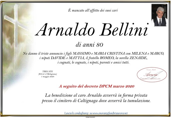 Necrologio di Arnaldo Bellini