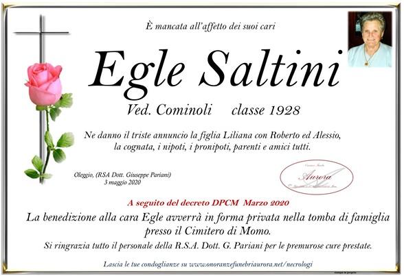 Necrologio di Egle Saltini ved. Cominoli