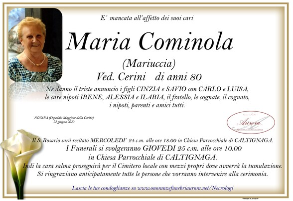 Necrologio di Maria Cominola ved. Cerini