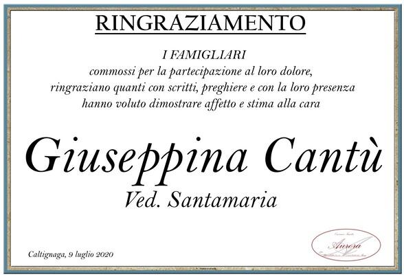 Ringraziamenti per Giuseppina Cantù ved. Santamaria