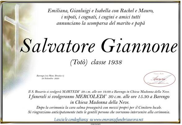 Necrologio di Salvatore Giannone (Totò)
