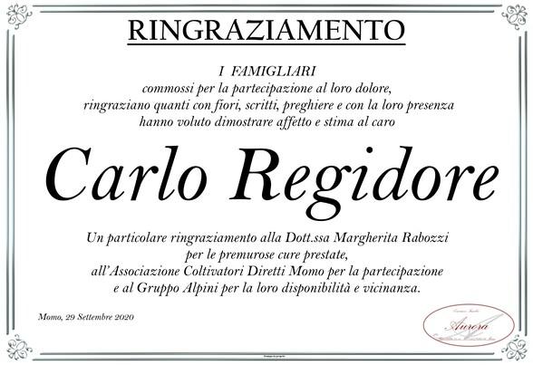 Ringraziamenti per Carlo Regidore