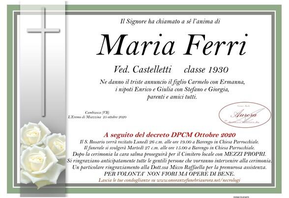 Necrologio di Maria Ferri ved. Castelletti