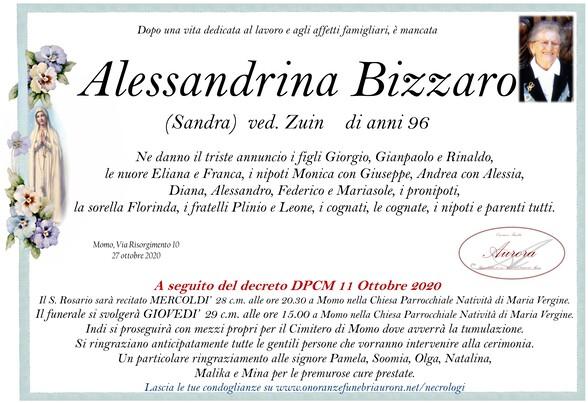 Necrologio di Alessandrina Bizzaro ved. Zuin