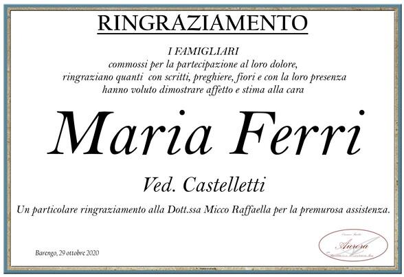 Ringraziamenti per Maria Ferri ved. Castelletti