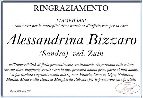 Ringraziamenti per Alessandrina Bizzaro ved. Zuin