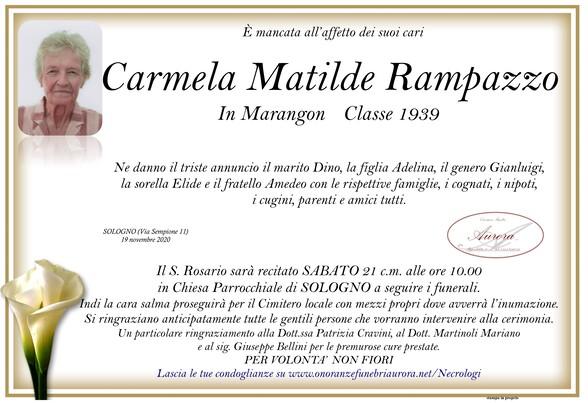 Necrologio di Carmela Matilde Rampazzo in Marangon