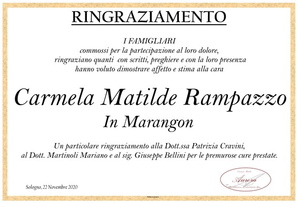 Ringraziamenti per Carmela Matilde Rampazzo in Marangon