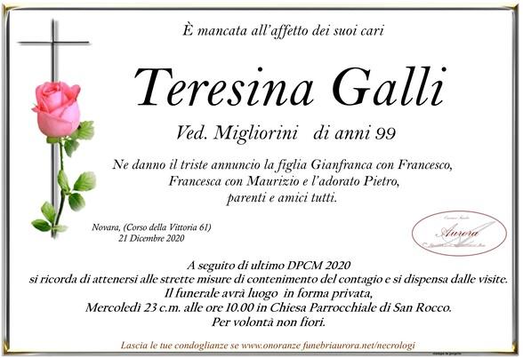 Necrologio di Teresina Galli ved. Migliorini