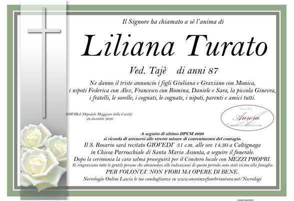 Necrologio di Liliana Turato ved. Taiè