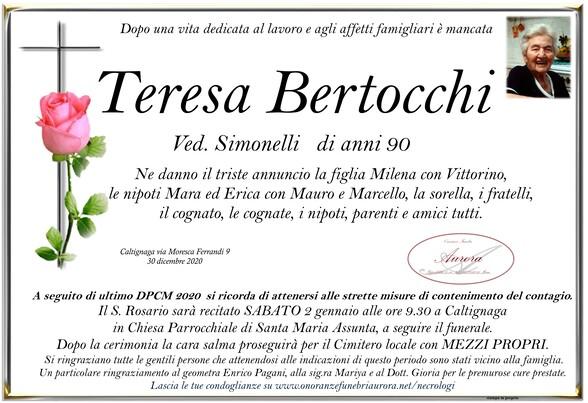 Necrologio di Teresa Bertocchi ved. Simonelli