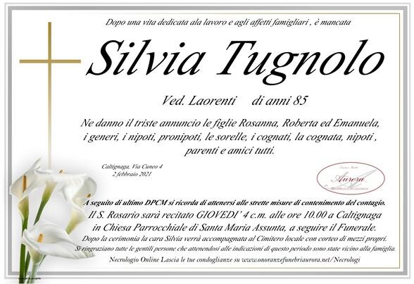 Necrologio di Silvia Tugnolo ved. Laorenti.