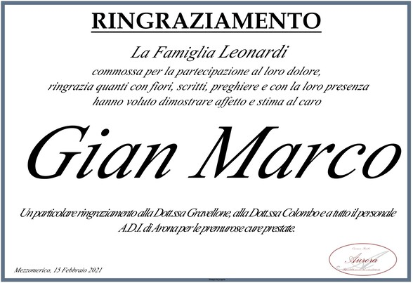 Ringraziamenti per Gian Marco Leonardi