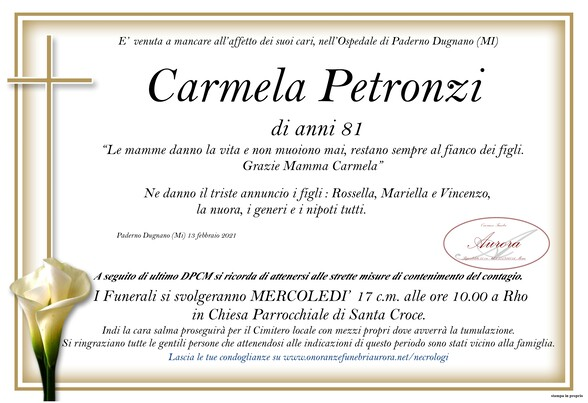 Necrologio di Carmela Petronzi