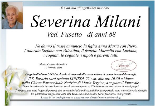Necrologio di Severina Milani ved. Fusetto