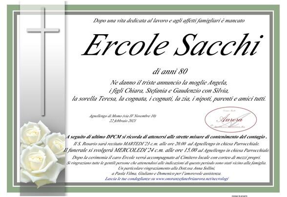 Necrologio di Ercole Sacchi