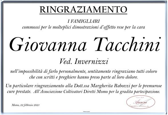 Ringraziamenti per Giovanna Tacchini ved. Invernizzi