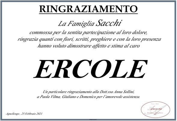Ringraziamenti per Ercole Sacchi