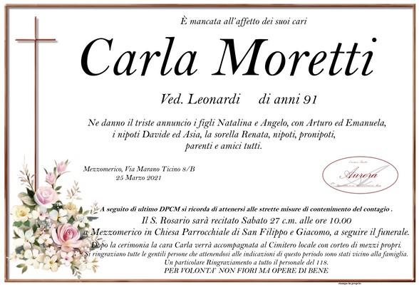 Necrologio di Carla Moretti ved. Leonardi
