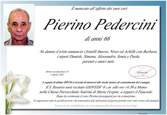 Necrologio di Pierino Pedercini