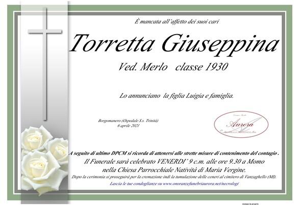 Necrologio di Giuseppina Torretta ved. Merlo