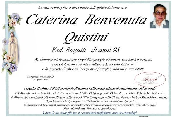 Necrologio di Caterina Benvenuta Quistini ved. Rogatti
