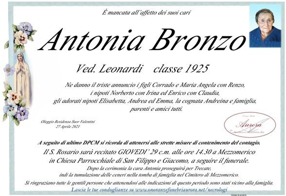 Necrologio di Antonia Bronzo ved. Leonardi