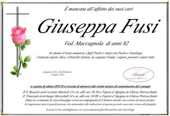 Necrologio di Giuseppa Fusi ved. Maccagnola