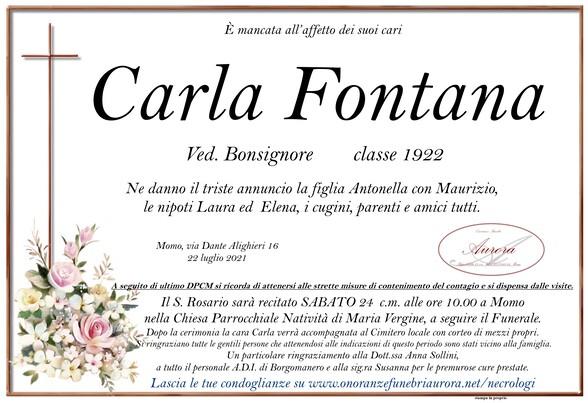 Necrologio di Carla Fontana ved. Bonsignore