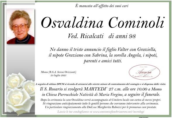 Necrologio di Osvaldina Cominoli ved. Ricalcati