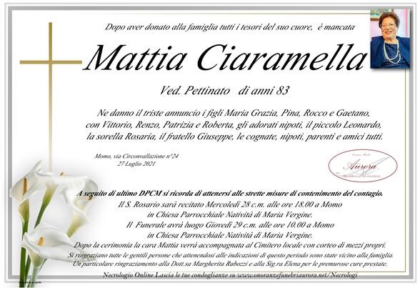 Necrologio di Mattia Ciaramella ved. Pettinato