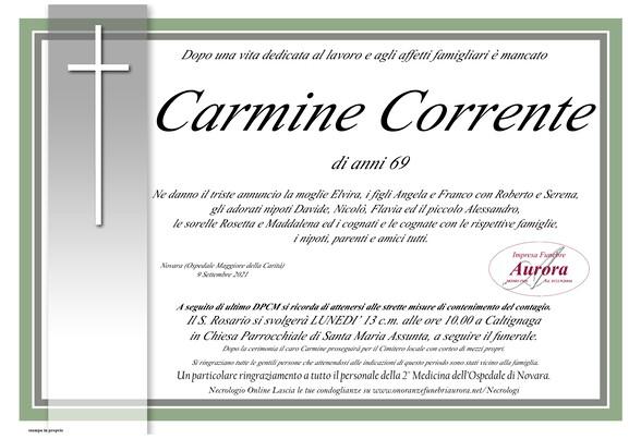 Necrologio di Carmine Corrente